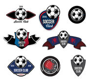 Set of soccer football logo, emblem, crests. Royalty Free Stock Photos
