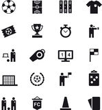 Set of soccer and football web icons. Set of black glyph icons related to football and soccer Royalty Free Stock Photo