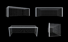 Set of soccer goal post and soccer net with clipping path. Royalty Free Stock Photo