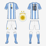 Set of soccer jersey or football kit template for Argentina national football team. Royalty Free Stock Images
