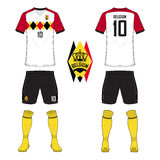 Set of soccer jersey or football kit template for Belgium national football team. Front and back view soccer uniform. Sport shirt royalty free illustration