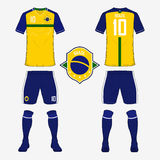 Set of soccer jersey or football kit template for Brazil national football team. Front and back view soccer uniform. Vector Stock Photo