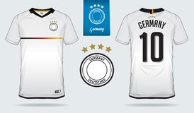 Set of soccer jersey or football kit template design for Germany national football team. Front and back view soccer uniform. Football t shirt mock up. Vector stock illustration