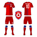 Set of soccer jersey or football kit template for North Korea national football team. Royalty Free Stock Photos