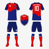 Set of soccer jersey or football kit template for South Korea national football team. Royalty Free Stock Images