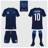 Set of soccer kit or football jersey template. Flat football logo. Front and back view soccer uniform. Vector. Soccer jersey or football kit, short, sock Royalty Free Stock Photo