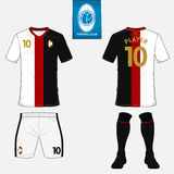 Set of soccer kit or football jersey template. Flat logo on blue label. Front and back view. Football uniform. Vector Stock Photo