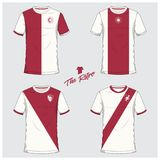 Set of soccer kit or football jersey template. Flat football logo. Front and back view soccer uniform. Vector. Soccer jersey or football kit, short, sock Royalty Free Stock Image