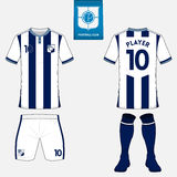 Set of soccer kit or football jersey template for football club. Flat logo on blue label. Front and back view. Football uniform. V Stock Photos