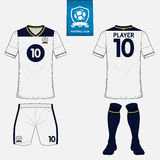 Set of soccer kit or football jersey template for football club. Flat logo on blue label. Front and back view. Football uniform. V Stock Photography