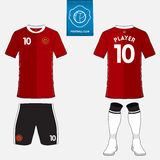 Set of soccer kit or football jersey template for football club. Flat logo on blue label. Front and back view. Football uniform. V Royalty Free Stock Images