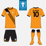 Set of soccer kit or football jersey template for football club. Flat logo on blue label. Front and back view. Football uniform. V Stock Photo