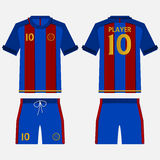 Set of soccer kit or football jersey template for football club. Front and back view. Football uniform in paper cut style. Vector. Stock Photo