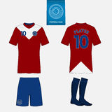 Set of soccer kit or football jersey template. Front and back view. Football uniform. Vector Illustration Royalty Free Stock Images