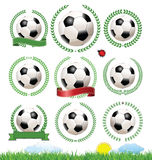 Set of soccer labels with laurel wreaths Stock Photos