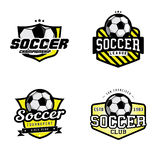 Set of soccer league badges. Set of soccer league / championship / tournament / club badges, labels, icons and design elements. Soccer themed t-shirt graphics Royalty Free Stock Image