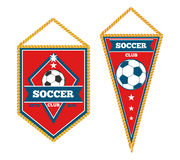 Set of soccer pennants  white. A pair of soccer pennants  over white. Soccer tournament and football flag, vector illustration Royalty Free Stock Photography