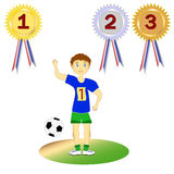 Set soccer player, athlete and medals, vector Royalty Free Stock Photo
