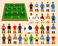 Set of Soccer Player in Formation. Royalty Free Stock Images