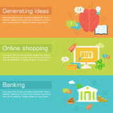 Set of social business life horizontal banners Stock Photography