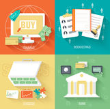 Set of social business life icons backgrounds in Stock Photography
