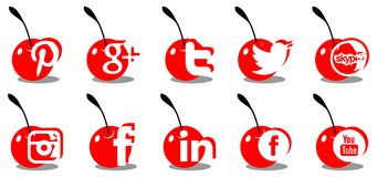 Set of social icons on cherry isolated Royalty Free Stock Images