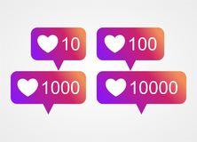 Vector counter notification icon of instagram media social. Set of social icons like instagram counter notification Stock Photography