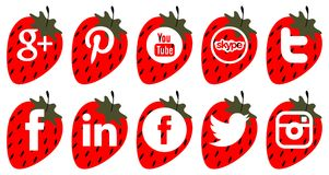Set of social icons on strawberry isolated Royalty Free Stock Photography