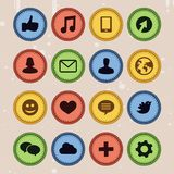 Set of social media badges in vintage style - Stock Photos
