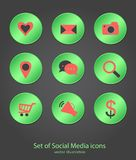 Set of social media buttons design, vector illustration, circle. Green icon, infographics element,Technology, sign template Vector Illustration