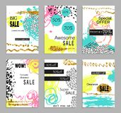 Set of social media colorful trendy sale and discount flyers or web banners for online shopping. Creative hand drawn marble. Texture card design. Artistic Stock Photo