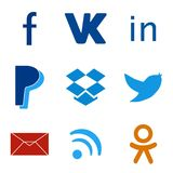 Set of social media colorful web icons Stock Photography