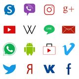 Set of social media colorful web icons Royalty Free Stock Images