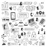 Set of social media doodles stock illustration