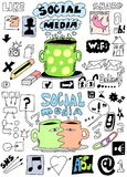 set social media hand drawn sign and symbol Royalty Free Stock Images