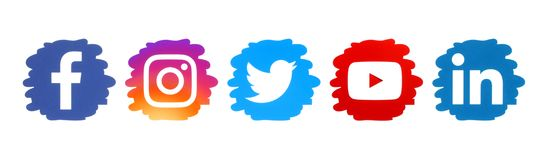Set of social media icons in drop form
