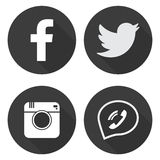 Set social media icons in flat style Stock Photos