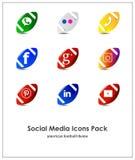 Set of social media icons: Instagram, Facebook, Pinterest, YouTube, Twitter, WhatsApp. Set of social media icons american football theme: Instagram, Facebook vector illustration