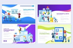 Set of social media marketing, data analysis, management app, consulting, business project. Vector illustration for mobile website. And website development royalty free illustration