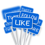Set of Social Media Network Road Signs. Stock Photos