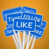 Set of Social Media Network Road Signs. include Like Share, Twit stock illustration