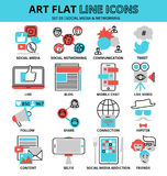 Set of social media and networking icons. Modern flat thin line design vector illustration, set of social media and networking icons, for graphic and web design Stock Photo