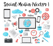 Set of social media and online news objects. Modern watercolor design  illustration, set of social media, online news and blogging objects, for graphic and web Stock Photo