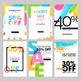 Set of social media sale banners template. Hand drawn vector illustrations for website and mobile website banners, posters, email and newsletter designs, ads Stock Photography