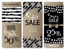 Set of social media sale website and mobile banner templates with golden texture. Vector banners posters flyers email stock illustration