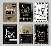 Set of social media sale website and mobile banner templates with golden texture. Vector banners posters flyers email Stock Photography