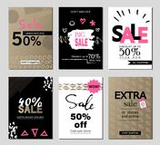 Set of social media sale website and mobile banner templates. Vector banners, posters, flyers, email, newsletter, ads Royalty Free Stock Photography