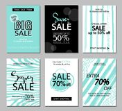 Set of social media sale website and mobile banner templates. Vector banners, posters, flyers, email, newsletter, ads, promotional Royalty Free Stock Photography