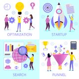 Set of social media sales funnel royalty free illustration
