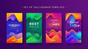 Set of social media stories sale banner design for spring, summer sale banner, and more. Trendy 3D design sales banners for your royalty free illustration